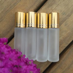 Frosted 10ml Glass Roller bottles with Gold Cap