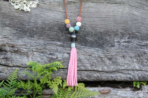 Lava Bead Diffuser Necklace with Pink Tassel