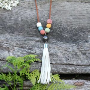 Lava Bead Diffuser Necklace with White Tassel